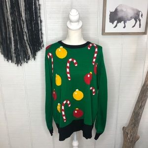 Christmas sweater green with candy canes and bulbs